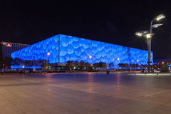 Night view of the National Aquatic Center, Water Cube, of Beijing Stock Photos