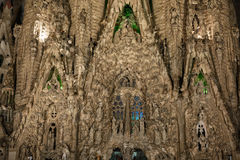 Night view of Nativity facade of Sagrada Familia cathedral in Ba Royalty Free Stock Photo