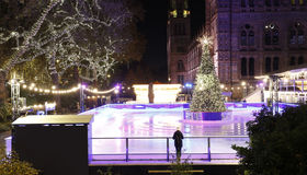 Night View of Natural History Museum Ice Rink Stock Image