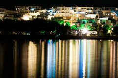 Night view of Naussa, Paros Royalty Free Stock Photo