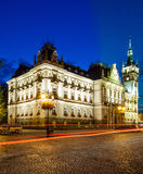 Night view of the Neo-Renaissance town hall in Bielsko-Biala, Poland. Royalty Free Stock Photography