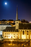Night view of Neumunster in Luxembourg Stock Photo