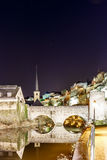Night view of Neumunster in Luxembourg stock image