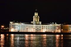 Night view of Neva river Royalty Free Stock Photos
