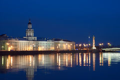 Night View of Neva River Stock Images