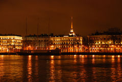 Night view of Neva river Stock Photos