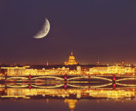 Night view of the Neva river and St. Isaac's Cathedral and the Troitskiy Bridge Stock Images