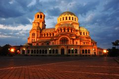 Night view of A.Nevski Cathedral in Sofia,Bulgaria Stock Photos