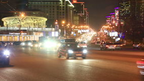 Night view of New Arbat traffic in Moscow, Russia stock footage