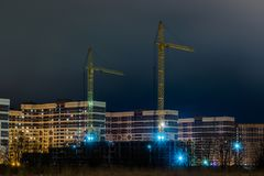 The night view on the new buildings on the suburb of the city from the heath. The night view on the new buildings on the suburb of the big city from the heath Stock Photography