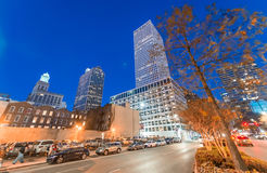 Night view of New Orleans buildings from street level Stock Photo
