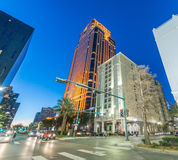 Night view of New Orleans buildings from street level Royalty Free Stock Photography