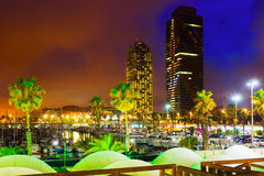 Night view of new seaside of Barcelona stock photos