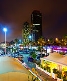 Night view of new seaside of Barcelona - center of nightlife Stock Image