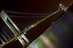 Night view of New York City, Verazzano Narrows Bridge. Royalty Free Stock Photography