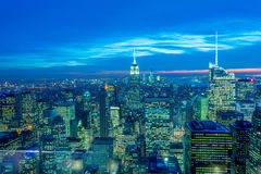 The night view of new york manhattan during sunset Royalty Free Stock Image