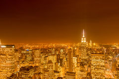 The night view of new york manhattan during sunset Stock Image