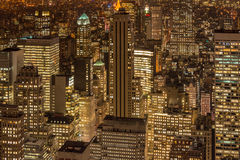 The night view of new york manhattan during sunset Royalty Free Stock Images