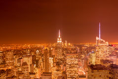 The night view of new york manhattan during sunset Royalty Free Stock Photography