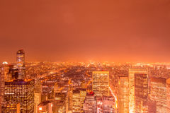 The night view of new york manhattan during sunset Stock Images