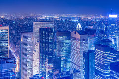 The night view of new york manhattan during sunset Royalty Free Stock Photo