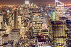 The night view of new york manhattan during sunset Stock Photography