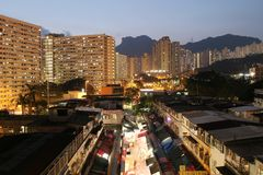 Night view of Ngau Chi Wan Market booths Stock Photo