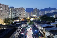 Night view of Ngau Chi Wan Market booths Royalty Free Stock Photos