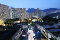 Night view of Ngau Chi Wan Market booths Royalty Free Stock Photo
