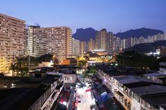 Night view of Ngau Chi Wan Market booths Stock Image
