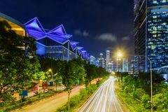 Night view of Nicoll Highway towards downtown of Singapore. Scenic night view of Nicoll Highway towards downtown of Singapore. Amazing summer cityscape stock photos