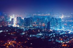 View from Namsan tower on Seoul at night - South Korea Royalty Free Stock Photos