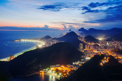 Night view of Night view of Botafogo and Copacabana beach in Rio de Janeiro Royalty Free Stock Image