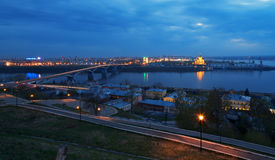Night view of Nizhny Novgorod. Kanavinskiy bridge and Alexander Nevsky Cathedral Royalty Free Stock Photos