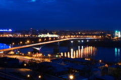 Night view of Nizhny Novgorod. Kanavinskiy bridge. Royalty Free Stock Photos