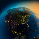 Night view of North America from