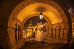 Night view of North gate of the Fisherman`s Bastion, Budapest, Hungary royalty free stock image