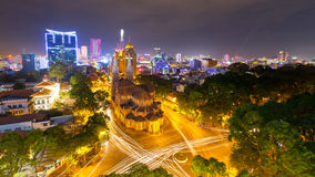 Night view Notre Dame Cathedral ( Saigon Notre-Dame Basilica )  located in the downtown of Ho Chi Minh City, Vietnam. Stock Images
