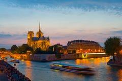 Night view on Notre Dame de Paris Stock Photo