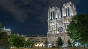 Night view of Notre Dame de Paris timelapse, France