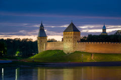 Night view of Novgorod fortress Stock Photography