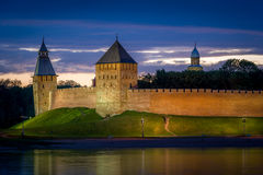 Night view of Novgorod fortress Royalty Free Stock Photo