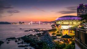 Night view at Nurimaru APEC house in Dongbaekseom Island, Haeundae district, South Korea, 15 august 2017. Horizontal Stock Photo