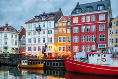 Night view of Nyhavn canal, Copenhagen Stock Photos