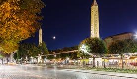 Night view Obelisk at hippodrome in Istanbul Stock Photo