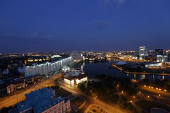 Night view from the observation deck in Minsk. MINSK, BELARUS - 06 AUGUST: I took a picture of the night Minsk houses from the observation deck Royalty Free Stock Images