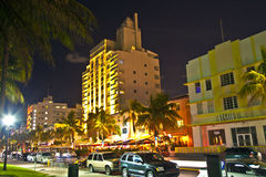 Night view at Ocean drive in Miami Royalty Free Stock Images