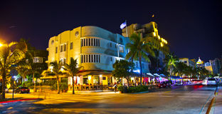 Night view at Ocean drive in Miami Royalty Free Stock Image