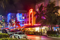 Night view at Ocean drive  in Miami Beach, Florida Royalty Free Stock Photos
