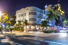 Night view at Ocean drive  in Miami Beach, Florida Royalty Free Stock Images
